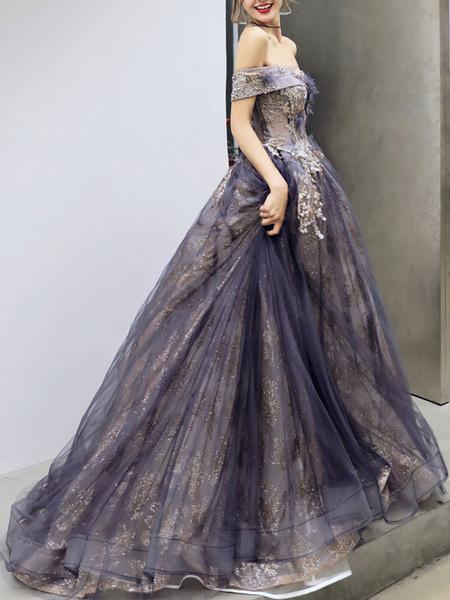 Milanoo Vestido de fiesta Una linea fuera del hombro Sin mangas Hasta el suelo Flores Vestidos de fiesta formales
