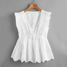 Eyelet Embroidered Scallop Ruffle Hem Top