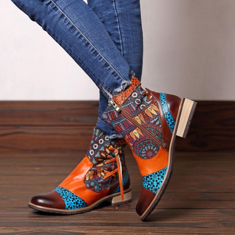 Ericdress Side Zipper Color Block Block Heel Thread Boots