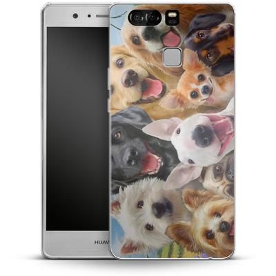 Huawei P9 Silikon Handyhuelle - Dogs Selfie von Howard Robinson