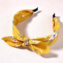 Flower Print Bow Hair Hoop