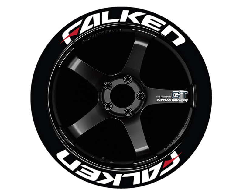 Tire Stickers FALRED-1921-75-4-W Permanent Raised Rubber Lettering 'Falken Red Dash' - 4 Of Each - 19