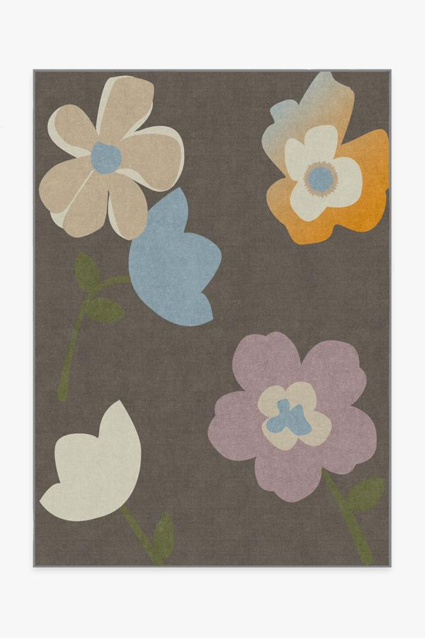 Washable Rug Cover | Cynthia Rowley Tulip Mink Rug | Stain-Resistant | Ruggable | 5'x7'