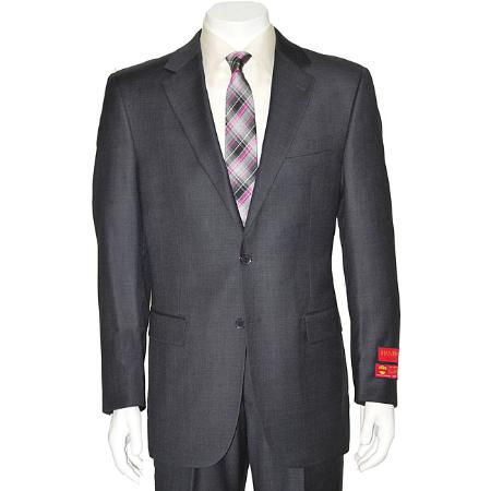 Mens Grey Twobutton Wool Suit