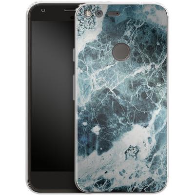 Google Pixel XL Silikon Handyhuelle - Blue Sea Marble von Emanuela Carratoni