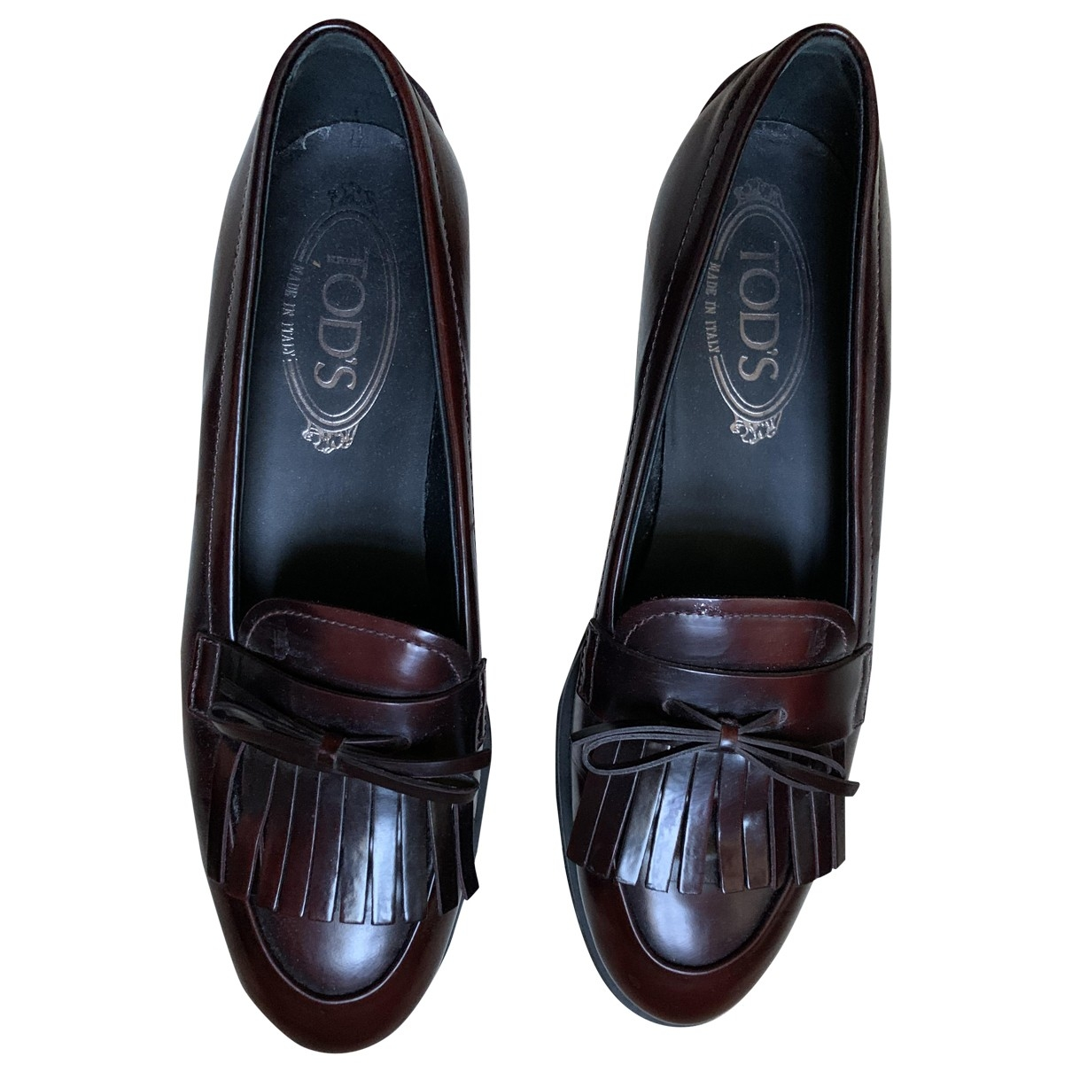 Tod's Gommino Burgundy Leather Flats for Women 36.5 EU
