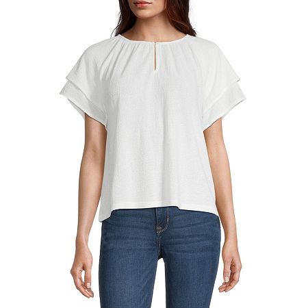 a.n.a-Tall Womens Keyhole Neck Short Sleeve Peasant Top, Xx-large Tall , White