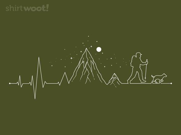 Hiking Heartbeat Mountain Lifestyle T Shirt