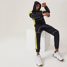 Men Stitch Detail Colorblock Hoodie & Contrast Sideseam Sweatpants Set