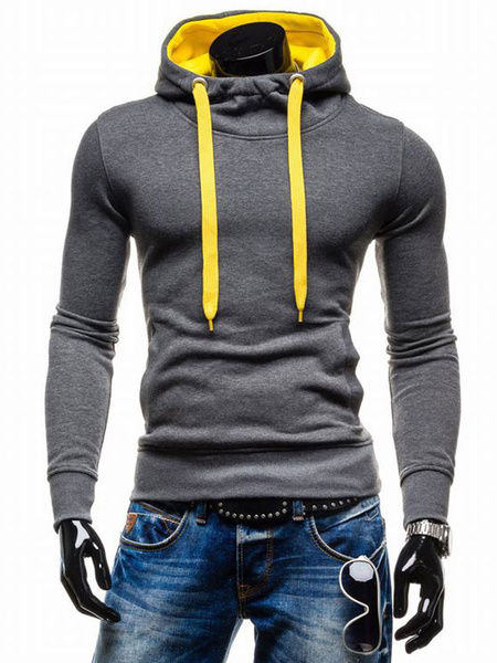 Milanoo Hoodie For Men Two Tone Hooded Drawstring Long Sleeve Pullover Casual Hoodie