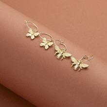 2pairs Bee & Butterfly Drop Earrings