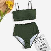 Bikini Set mit Raffung und hoher Taille
