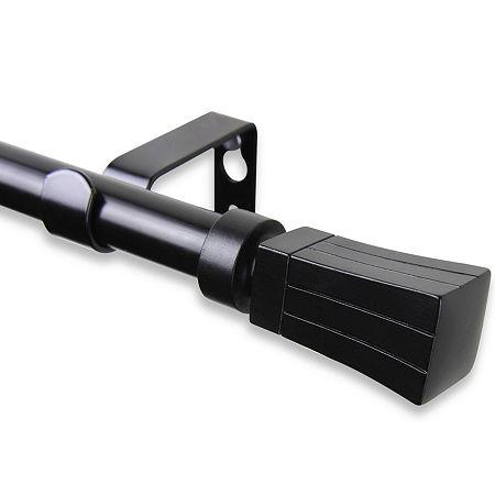 Rod Desyne Flare ⅝ Adjustable Curtain Rod, One Size , Black