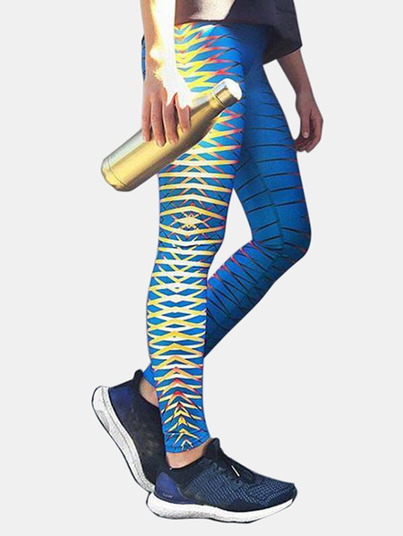 Yoins Active Random Floral Print Quick Drying Elastic Yoga Leggings