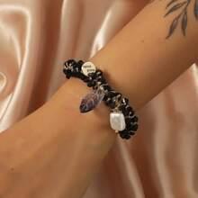 Armband mit Kunstperlen Anhaenger