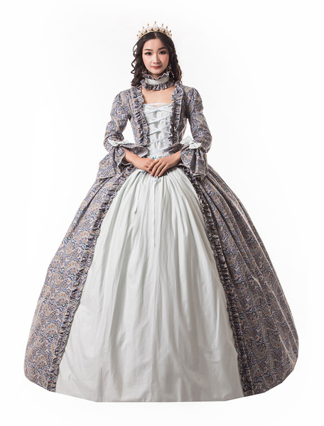Milanoo Victorian Dress Costume Women's Baby Blue Trumpet Long Sleeves Ruffle Floral Print Ball Gown Victorian Era Style Set with Choker Vintage Cloth