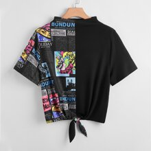 Plus Mock-Neck Knot Hem Figure and Newspaper Print Top