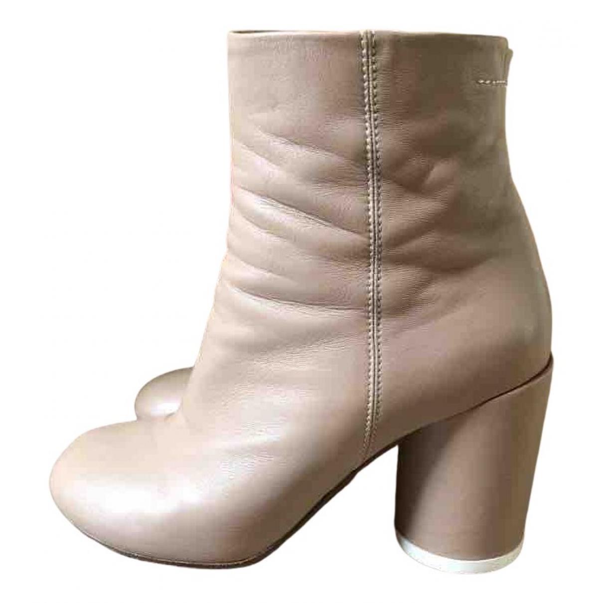 Mm6 - Boots   pour femme en cuir - ecru