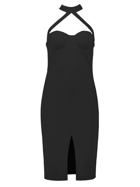 Milanoo Vestido bodycon con escote halter sin mangas Color liso con abertura lateral de lujo