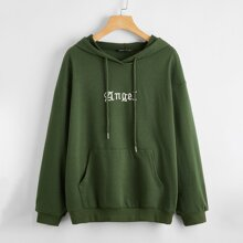 Pouch Pocket Letter Graphic Drawstring Hoodie