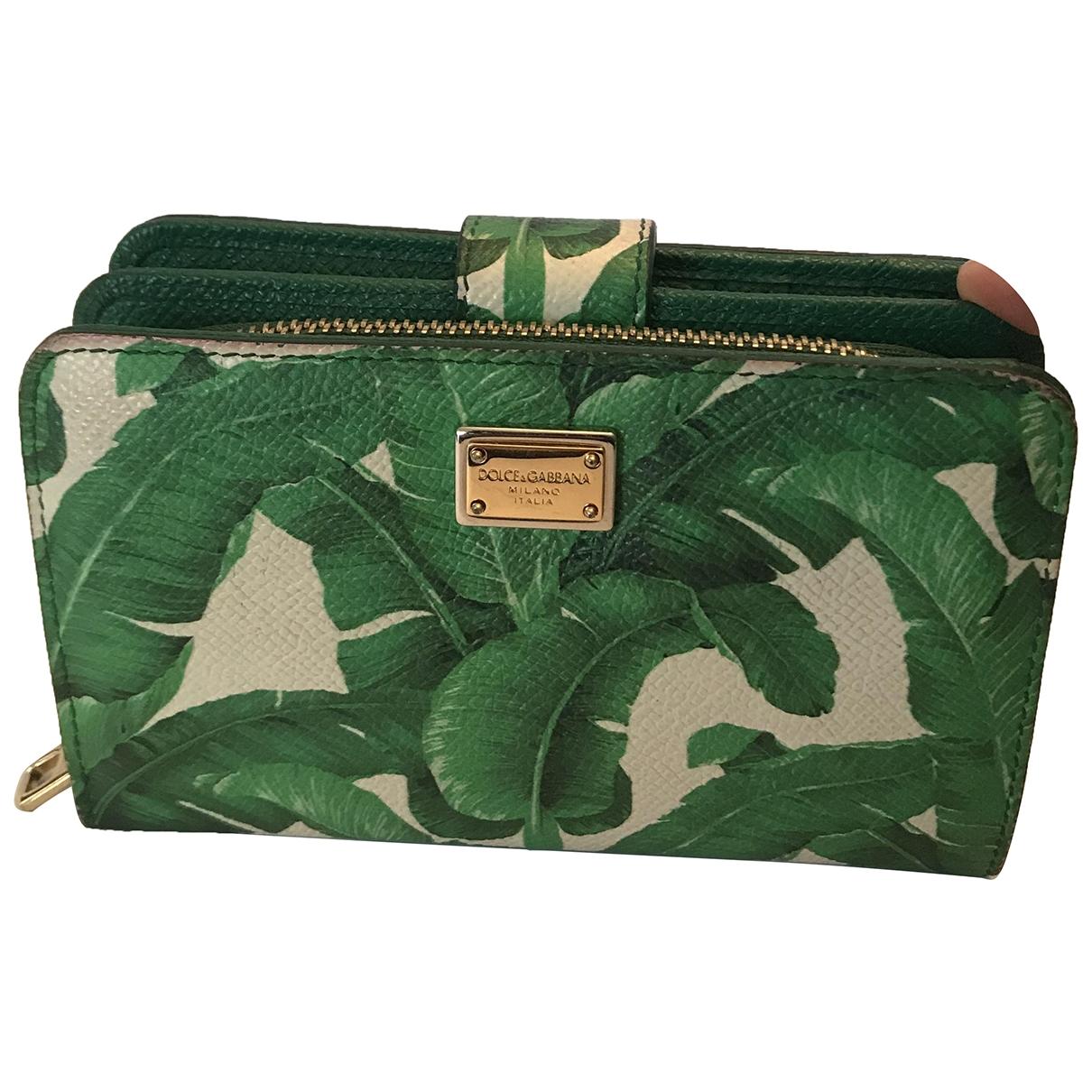 Dolce & Gabbana - Portefeuille   pour femme en cuir - vert