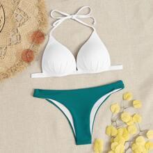Dreieckiger Bikini Badeanzug mit Neckholder