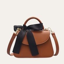 Bow Decor Flap Satchel Bag