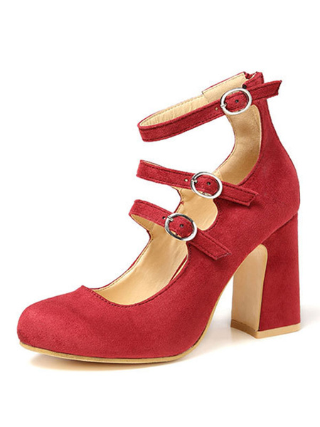 Milanoo Red Block Heels Suede Round Toe Buckle Detail Ankle Strap Pumps For Women