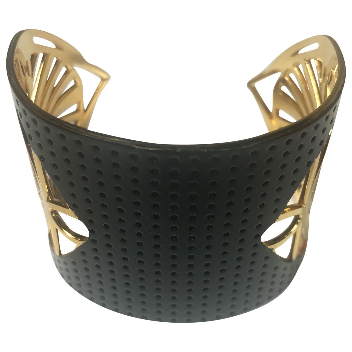 - Bracelet Manchette pour femme en plaque or - noir