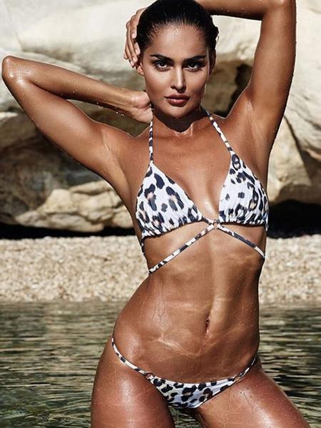 Milanoo Sexy Bikini Swimwear White Halter Straps Leopard Print Two Piece Bathing Suit