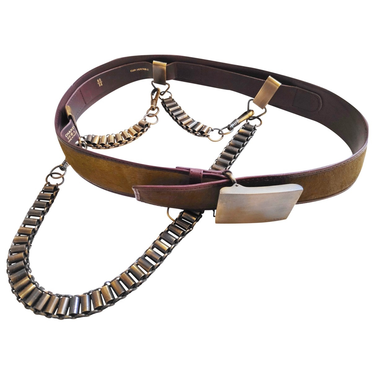 Chanel \N Khaki Leather belt for Women 80 cm