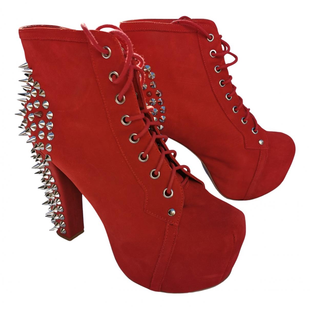 Jeffrey Campbell - Boots   pour femme en suede - rouge