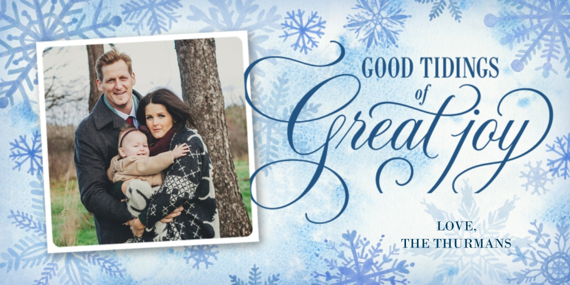 Christmas Photo Cards Flat Glossy Photo Paper Cards with Envelopes, 4x8, Card & Stationery -Snowflakes & Tidings of Joy Photo Card by Hallmark