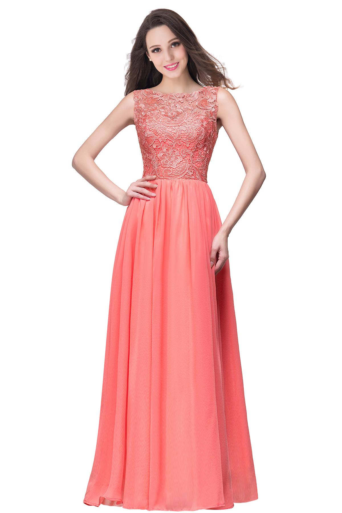 BMbridal Affordable A-line Chiffon Crew Lace Navy Long Bridesmaid Dresses In Stock