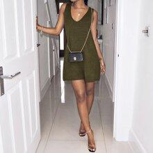 Tank Pullover Kleid mit V Kragen