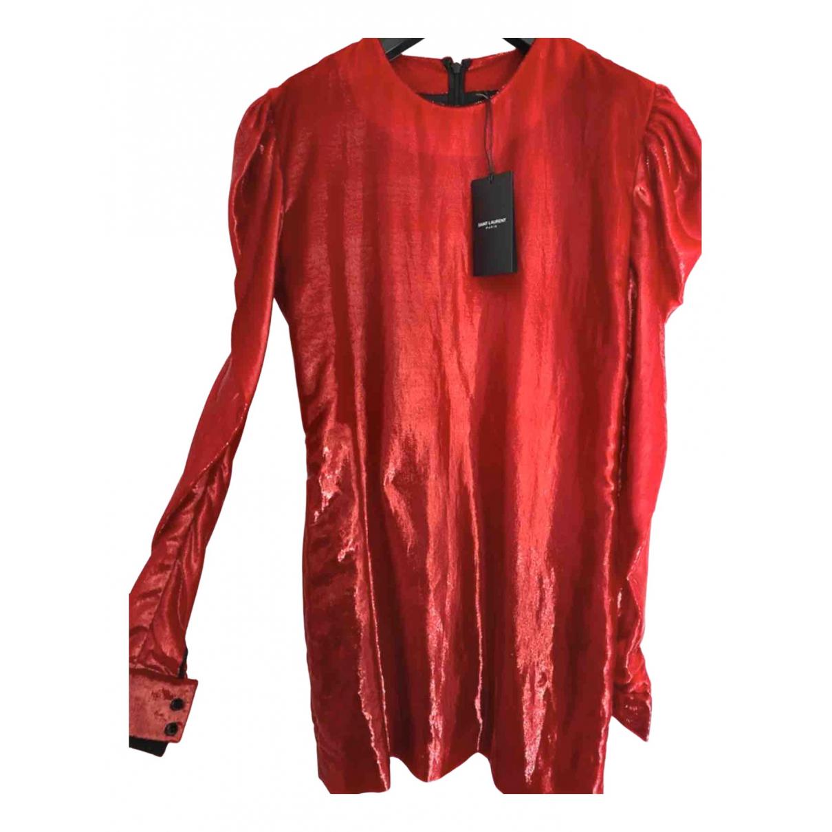 Saint Laurent - Robe   pour femme en velours - rouge
