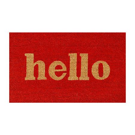 Block Hello Rectangular Outdoor Doormat, One Size , Red