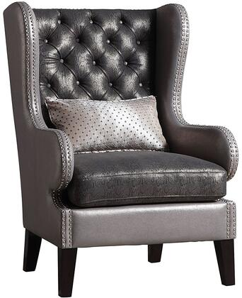 Fenton Collection 96208 Accent Chair with Wing Back Design  Removable Seat Cushion  Nail Head Accents  Pillow Included  Schima Superba Materials and