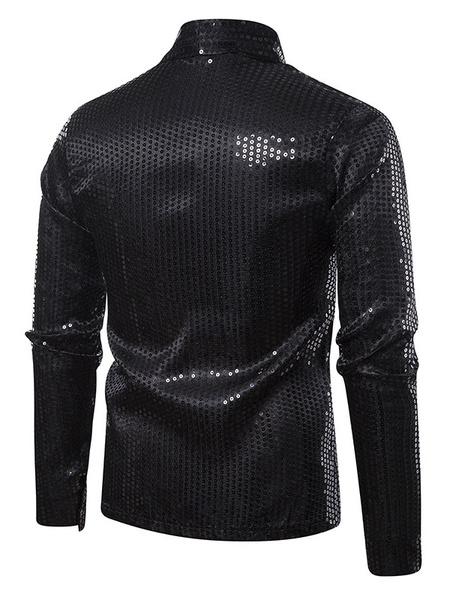 Milanoo Sequin Mens Jacket Shawl Collar Glitter Blazers Nightclub Wedding Party Prom DJ Singer Costumes