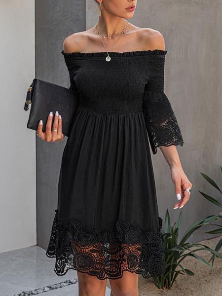 Milanoo Summer Dress Bateau Neck Lace Black Beach Dress