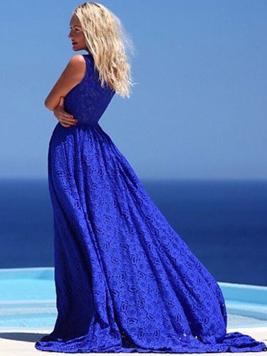 Milanoo Vestido largo azul  Moda Mujer de encaje Artistica Vestidos semi-transparente estilo bohemio Verano