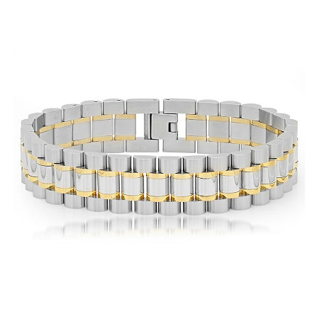 Mens Two-Tone Stainless Steel Bracelet, One Size , No Color Family