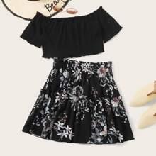 Plus Off Shoulder Lettuce Trim Top & Frill Trim Floral Skirt Set