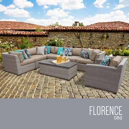 FLORENCE-08d-WHEAT Florence 8 Piece Outdoor Wicker Patio Furniture Set 08d with 2 Covers: Grey and