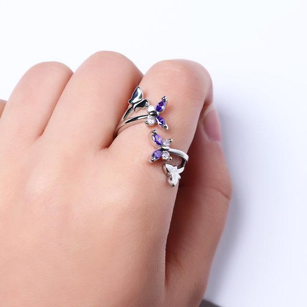 Sweet Adjustable Ring Purple Zircon Butterfly Women Ring