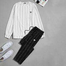 Guys Horse Print Striped Pullover & Sweatpants Set