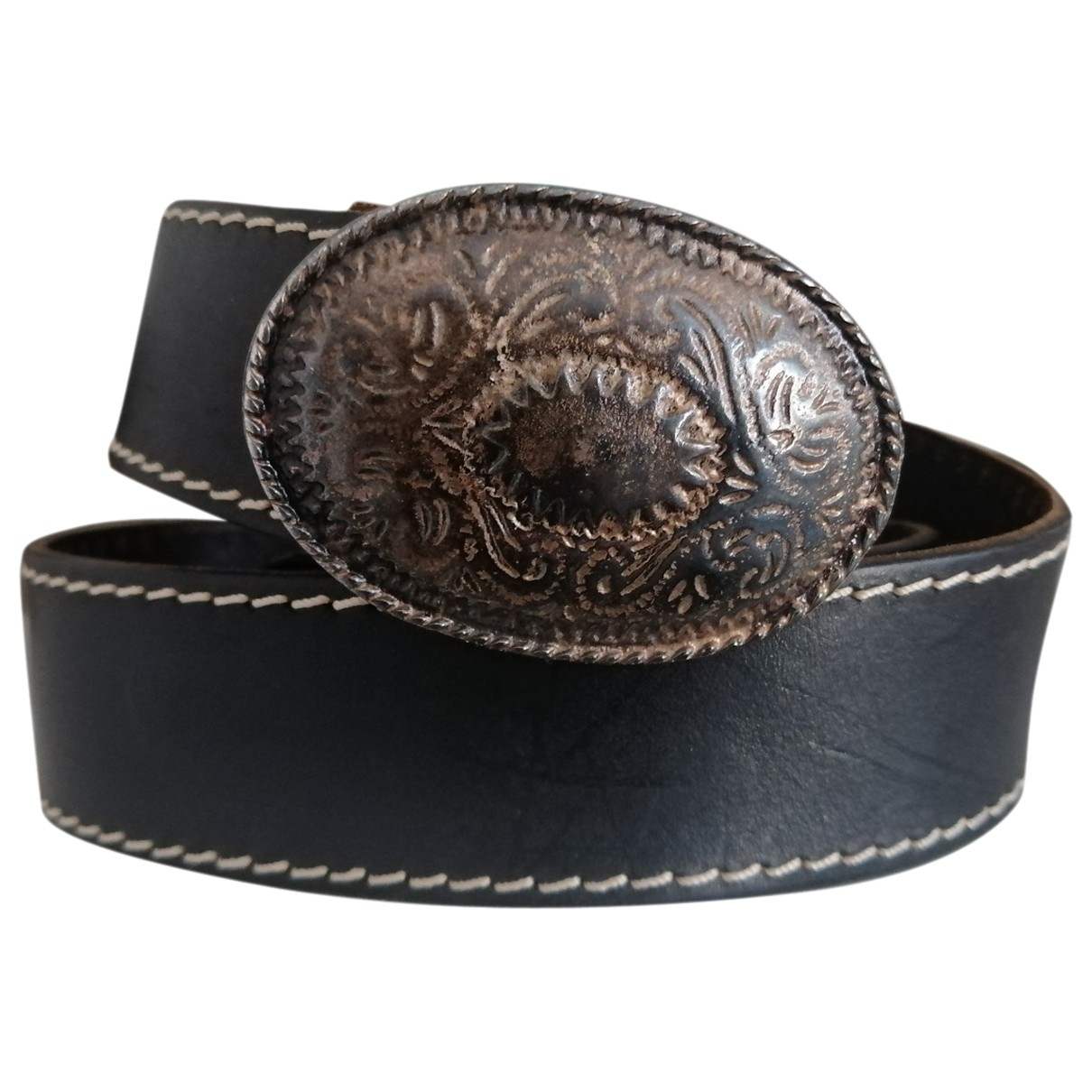 Non Signé / Unsigned \N Black Leather belt for Women XS International