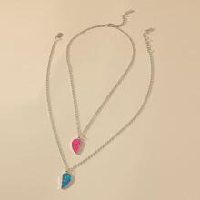 2 Stuecke Halskette mit Herzen Dekor