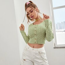 Button Front Cable Knit Crop Cardigan