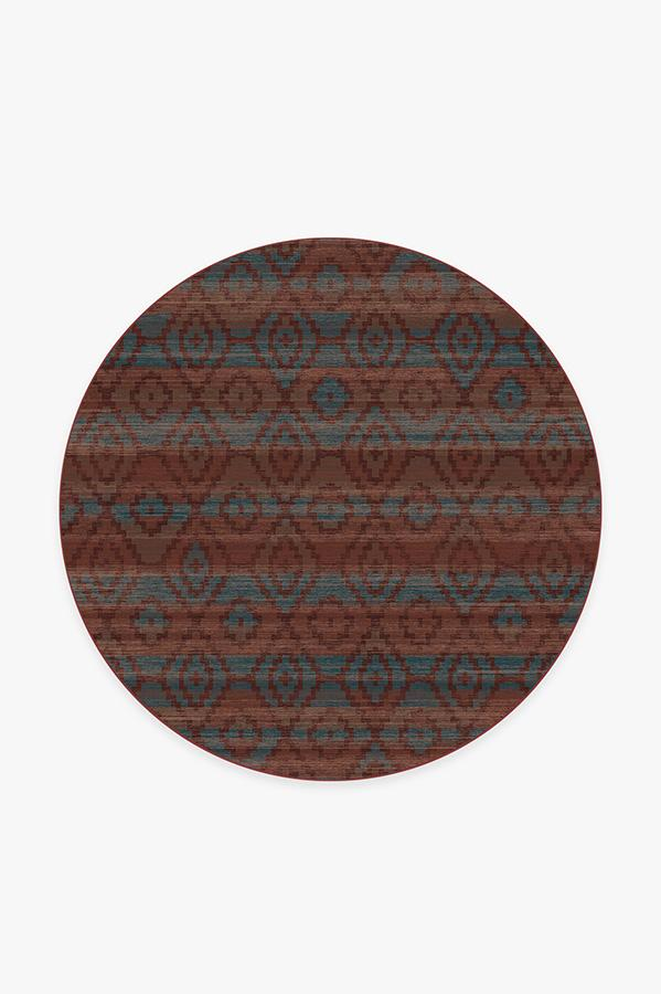Washable Rug Cover & Pad | Diamond Trellis Brick Red Rug | Stain-Resistant | Ruggable | 6' Round